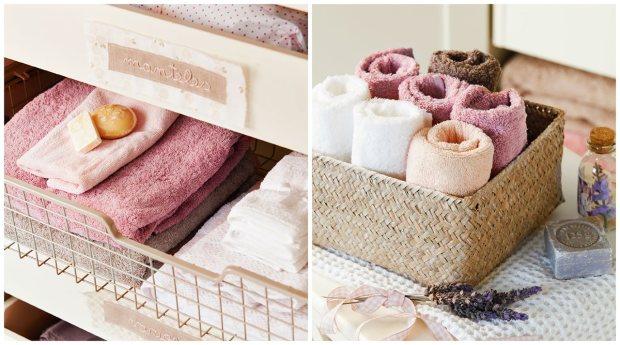 toallas ordenadas en el armario con jabones de olor